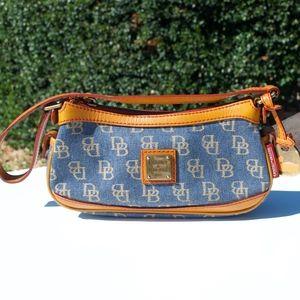 Dooney and Bourke Mini Top Zip Blue Denim Leather